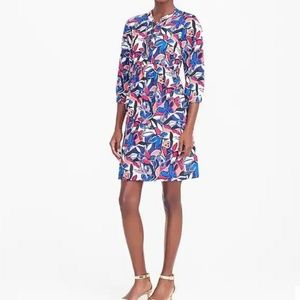 J Crew Factory Floral Long Sleeve Lace Up Dress